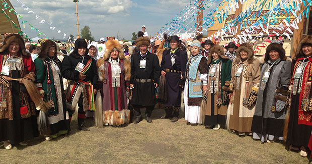 Largest gathering of people wearing traditional Yakut clothing Russia