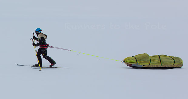 Longest assisted journey across Antarctica on skis (female) Stephanie dragging supplies
