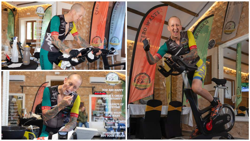 collection-of-images-of-ben-miles-attempting-longest-marathon-static-cycling