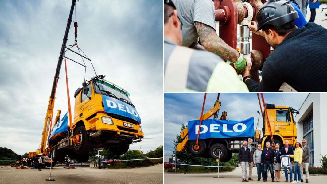 The heaviest weight lifted with glue (non-commercially available) is 17.20 tonnes (37,919 lb) by Delo in Windach, Germany