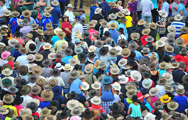 Largest gathering of people wearing akubra style hats