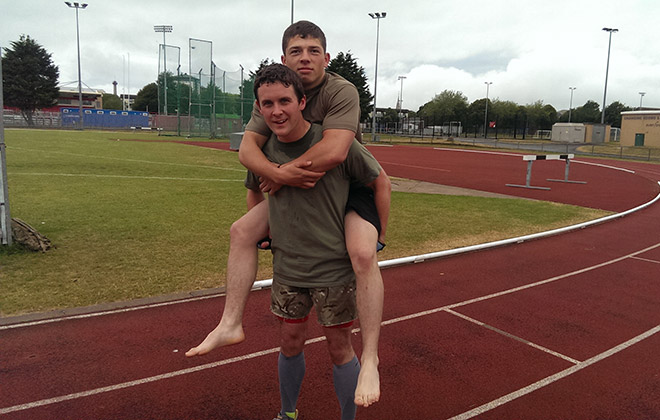 Fastest mile piggy back race
